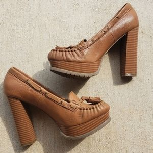 Leather Brown Tassel Moccasin Pumps.